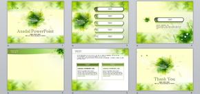 绿色清新手绘自然植物PPT模板