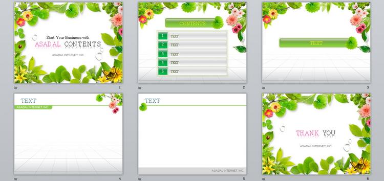 绿色缤纷环绕大自然鲜花植物PPT模板下载–演界网