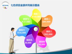 七色项目金额并列展示图表