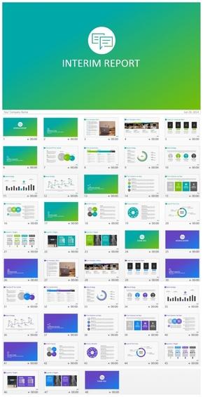 【限时购】动态大气渐变色简洁商务汇报类PPT模板(两种配色)