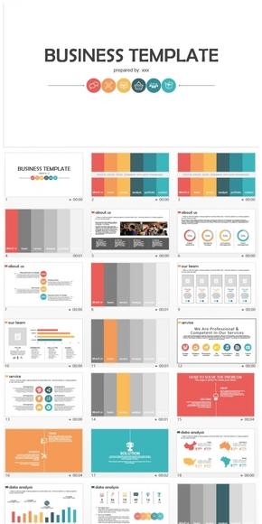 动态活泼的彩色扁平化商务工作汇报PPT模板