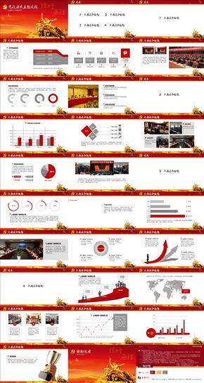 红黄经典党政历史主题动画PPT模板