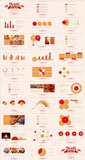 红橙色2015羊年年终总结汇报类PPT模板