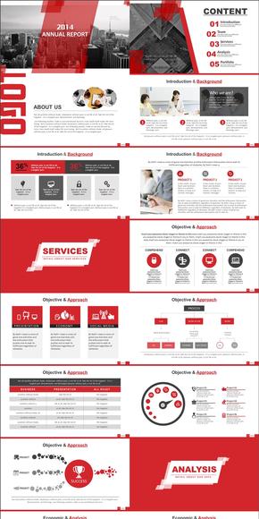 【PPT模板】动态专业红色商务年终汇报PPT模板