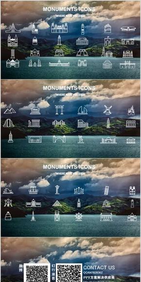 60个世界著名建筑矢量线性图标