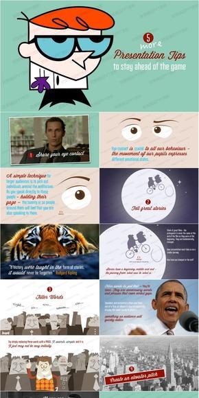 【演界网独家PPT】欧美创意形象扁平风PPT《保持领先的演讲水平的五大技巧》
