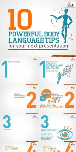 【演界网独家PPT】创意形象展示PPT《演讲必备的10种强大身体语言技巧》