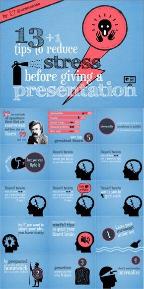 【演界网独家PPT】欧美创意手绘PPT《演讲前的13种减压方法》