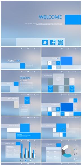 蓝色商务IOS风PPT模板