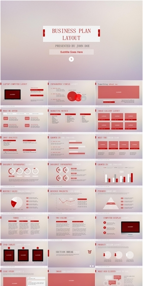红色商务IOS风PPT模板