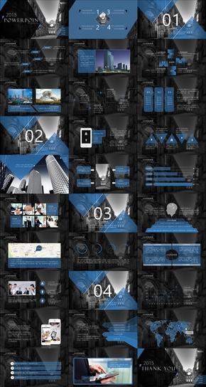 蓝黑经典房地产项目提案类通用PPT模板