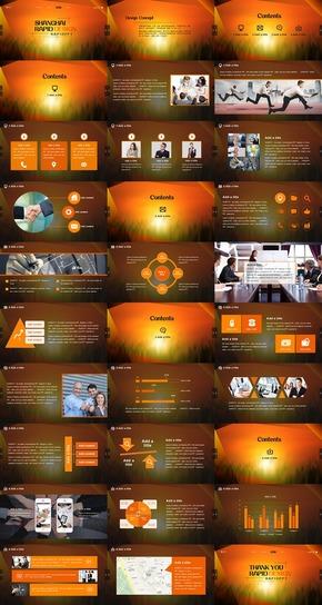橙黄色曙光型资讯管理通用PPT模板
