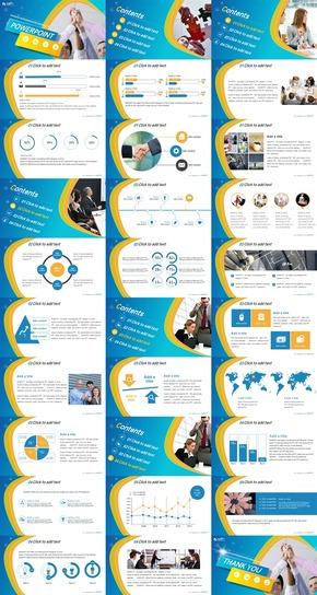 蓝黄色弧形版式商务合作通用PPT模板