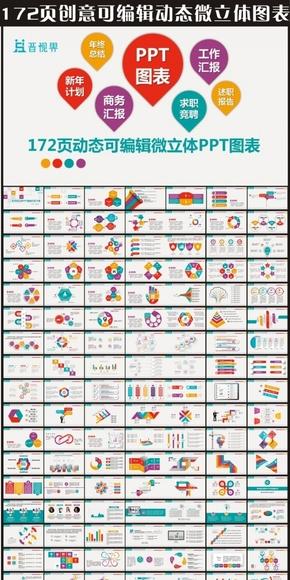 创意精美绝伦172款简洁可编辑微立体主题系列图表大集合创意动态PPT图表合集