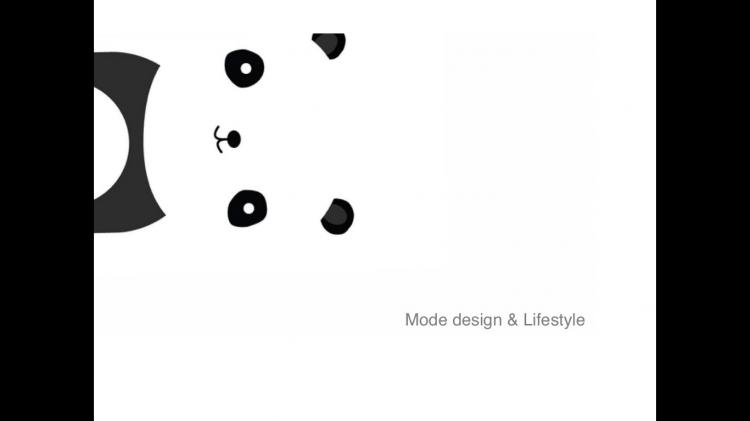 keynote模板 黑色背景ppt模板简约 简约可爱黑白熊猫keynote  作品