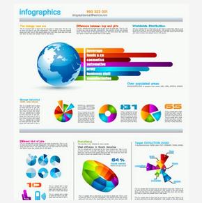 [演界信息图表]彩色信息图表-饼图和环形图
