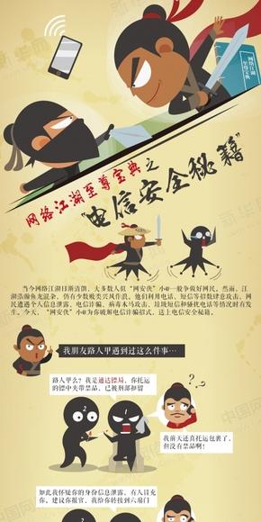 【演界信息图表】中国风漫画-网络江湖至尊宝典之电信安全秘籍