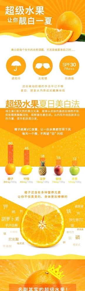 [演界信息图表]橙色海报风-超级水果让你亮白一夏