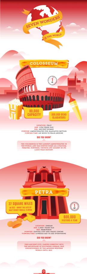 [演界信息图表]红色简约信息图-7个世界著名建筑