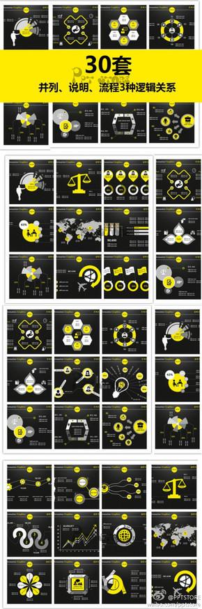 【演界信息图表】30套黄色系列-大气简约信息图表