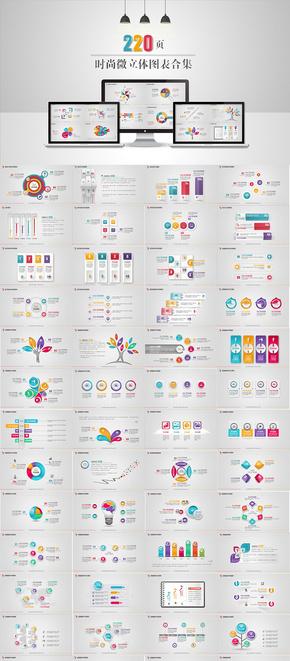 【演界信息图表】220页时尚-微立体图表合集(信息图表为图片格式)