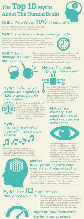 【演界信息图表】白底蓝字-关于人类大脑的十个神话