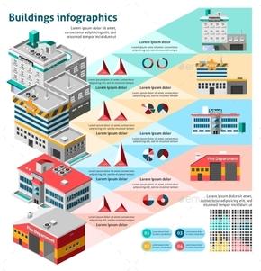 【演界信息图表】多彩扁平-建筑物信息图表