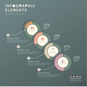 【演界信息图表】立体数据-圆环和百分比数据