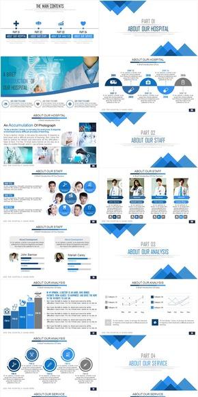 【PPT模板】动态简洁大气医疗行业工作汇报总结类PPT模板