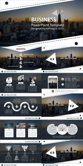 欧美高端系列商务动感模板【纽约之韵】[4套配色/800图标]--|By Haifeng|