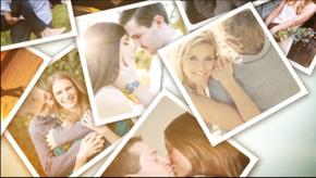 温馨爱心墙照片展示婚礼相册AE模板(代渲染)