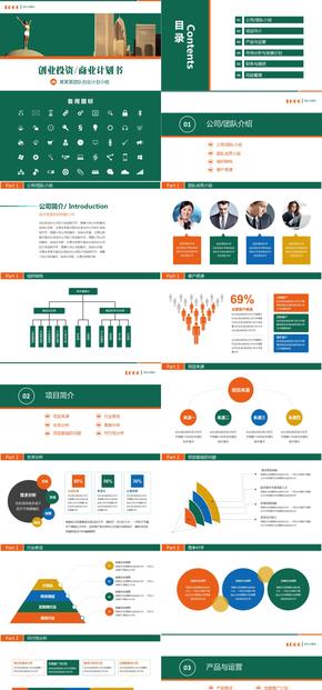 框架完整的创业计划书商业融资投资策划团队计划书PPT模板