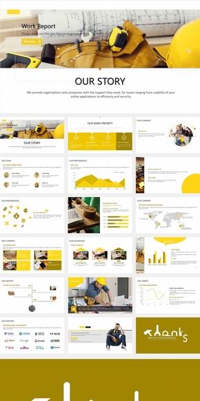 黄色系商务画册式PPT模板