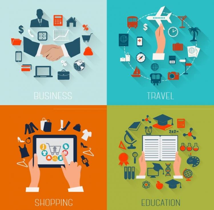 【演界信息图表】扁平化-商务与教育旅行图标设计矢量
