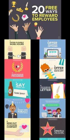 【演界网独家PPT】激励员工20种免费方法-欧美卡通扁平风格人力资源管理类PPT