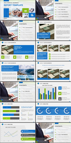 动态蓝绿商务年终汇报汇报展示PPT模板