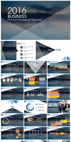 2016欧美风扁平化商务报告PPT模板