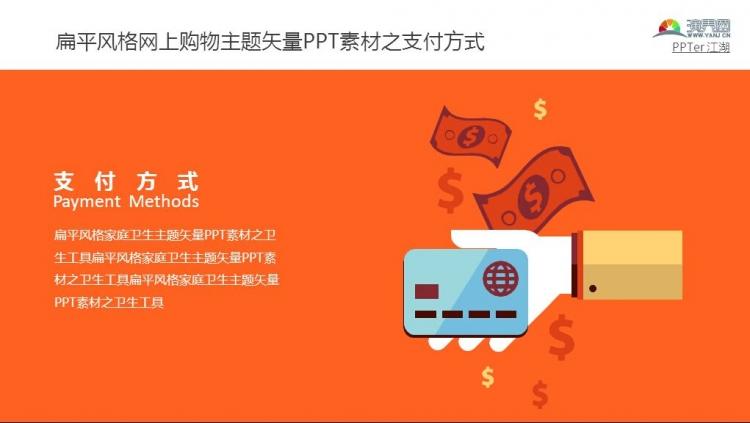 扁平风格网上购物主题矢量ppt素材之支付方式
