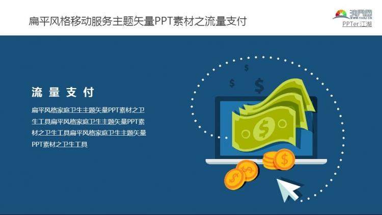 扁平风格移动服务主题矢量ppt素材之流量支付