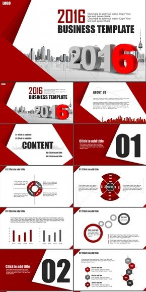 2016红色商务汇报工作总结商业计划书欧美风公司介绍PPT模板