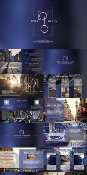 iOS欧美时尚杂志风PPT动态模板
