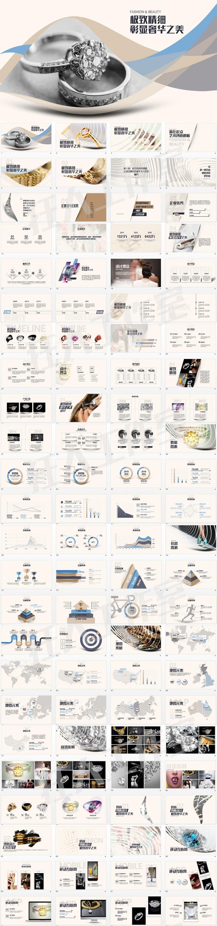 精美ppt模板-时尚珠宝展示广告宣传艺术类文案