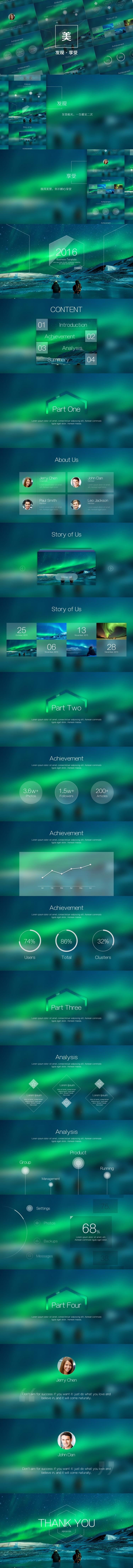 极光丨至美iOS风格PPT模板