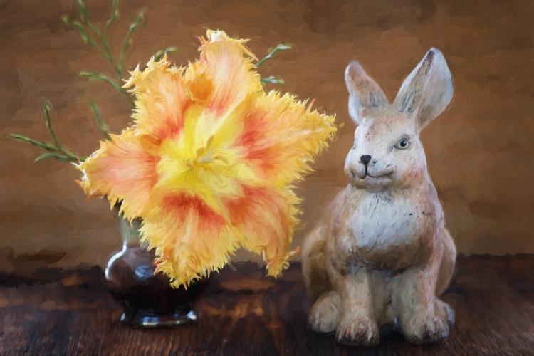 绘画,图像,花,郁金香,野兔,德卡,装饰,艺术,绘,复活节