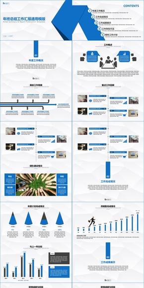 【小川PPT】思路清晰的年终总结工作汇报PPT模版(红蓝双色)