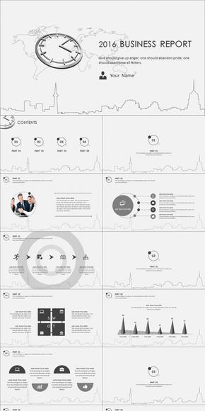 2016创意灰色时钟商务汇报总结模板(动静双套)