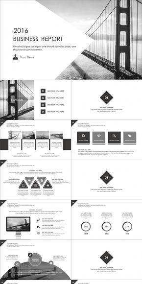 2016黑白扁平商务动感模板(动静双套)