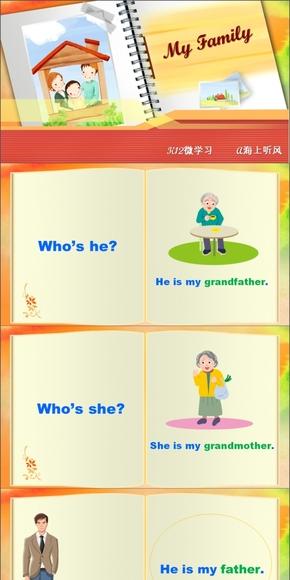 幼儿小学英语我的家人《My Family》PPT课件游戏化通用版