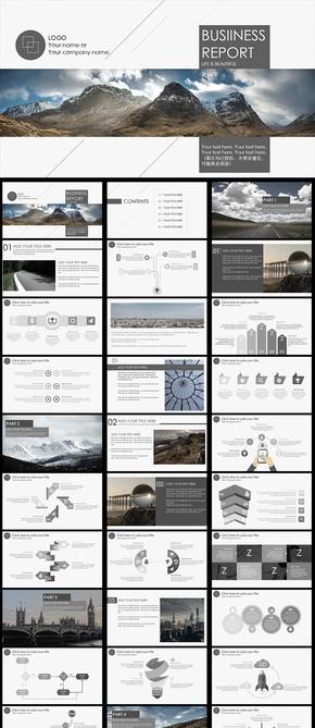 黑白欧美大气极简画册风格商务汇报公司介绍个人总结