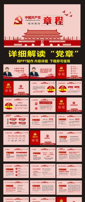 〖陈小幺出品〗红色简约党课中国共产党党程党章精细解读PPT模板